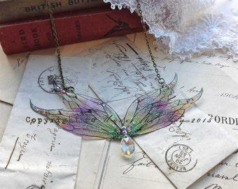 """Enchanting""""Fire faerie wing necklace"""""""