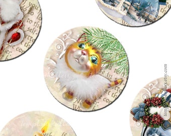 Digital Collage Sheet Christmas Time New Year 1 inch Round Images Original Printable 4x6 inch sheet 109