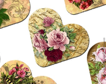 Digital Collage Sheet Vintage Roses 1 inch heart shape images  Original  Printable 4x6 inch sheet Scrapbooking  124