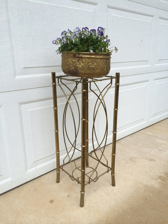 Vintage mid century faux bamboo brass plant stand hollywood for Faux bambou plante