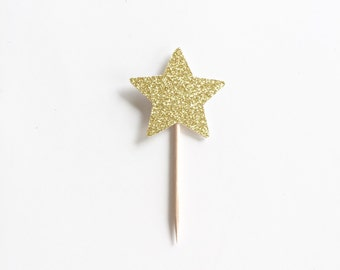 12 Glitter Star Cupcake Toppers, Food Picks for Birthday Party.