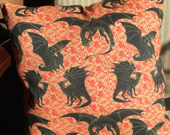 Pillow- Daenery's Dragons, representing the House Targaryen. 14 by 14 inches