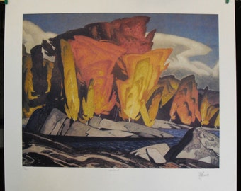 """Full Signature Limited Edition Art Print, Island by Group of Seven Artist A.J. Casson (16"""" x 14"""")"""