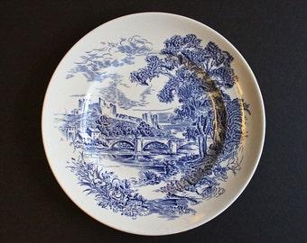 Set of 6 Vintage 60's Enoch Wedgwood (Tunstall) Ltd. Countryside Blue Transferware Dinner Plates