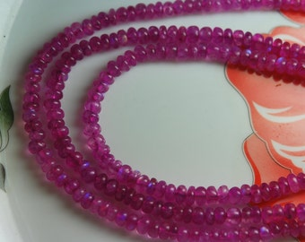 13 Inch Strand, DYED Pink Moonstone Smooth Rondelles 4mm