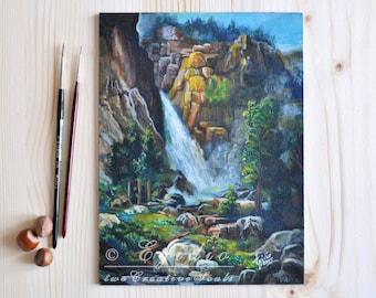 Waterfall oil painting Yosemite spring landscape Small painting Homage to Thomas Moran