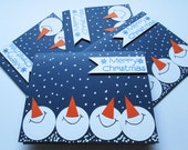 Snowmen Christmas Cards, Blue Christmas Card Set, Holiday Cards, Boxed Christmas Card Sets, Holiday Card Set, Merry Christmas Card Sets