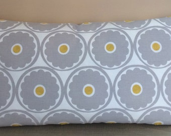 Gray & Yellow Pop Flower Kravet Pillow Cover with Invisible Zipper
