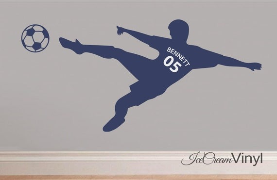 Soccer Sports Name Kids Wall Decal Childrens Decor