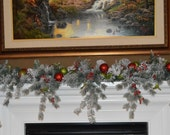 Cascading Christmas Garland, Flocked Pine Garland, Green and Red Garland, Mantle Garland,