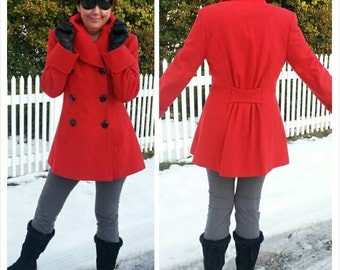 Little Red Riding Coat / vtg 80s hourglass w gathers at center back / fits 28 inch waist or size 6/8 or S/M