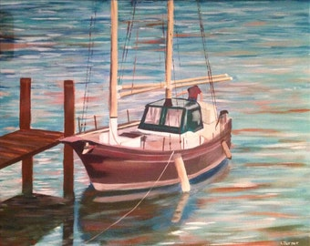 Lonely Boat Painting, Original, Acrylic on Canvas, Australian Artist, Ready to Hang, Coastal, Calm Water, Sailing Boats