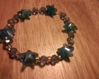 Pretty Blue Starfish Bracelet Beaded
