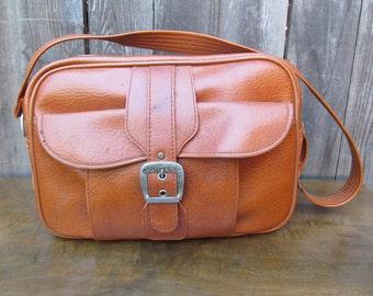 1960's Cognac Vinyl Shoulder Bag/Travel Bag