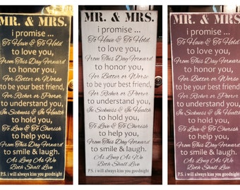 "Custom Carved Wooden Sign - ""Mr & Mrs Vows"" - 10""x24"""