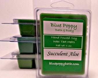 Succulent Aloe Soy Wax Tarts, Soy Wax Melts, Highly Scented Tart Melts, Hand Poured Candle Melts, Aloe Fragrance