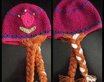 Frozen's Anna hat with braids, frozen, anna, kids hat, disney, halloween costume, Disneyland, Disney World