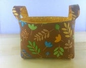 Small Fabric Storage Bin Basket ~ Fall Leaves with Yellow Tonal Dot