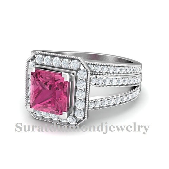 2 58ct pink sapphire princess cut bridal set by