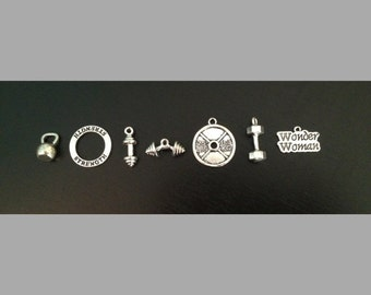 Charms: Motivational Bodybuilding, Fitness, and Strength - Dumbbell - Weight Plate - Kettlebell - Barbell - Wonder Woman Charms
