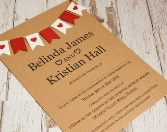 Red and white Bunting wedding invitation