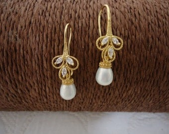 With Pearl Teardrop Earrings