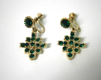 Vintage Emerald Green Rhinestone Dangle Earrings