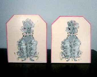 Vintage Hand Painted Pink Metal Poodle Bookends 1950's - 1960's