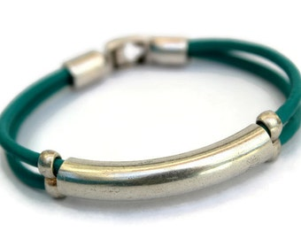 Tube Bracelet, Turquoise Bracelet, 40th Birthday Gift for Wife, Teal Wedding, Teal Bridesmaid Bracelet, Prom Dress, Graduation Gift Women
