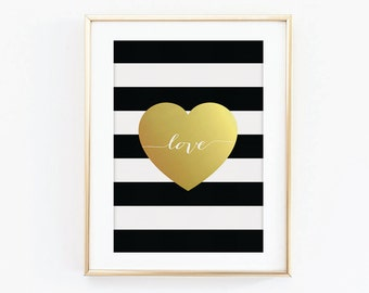 Gold Love Heart Print - Gold Effect Print - Black and White Print - Typography Print - Love Print - Heart Print