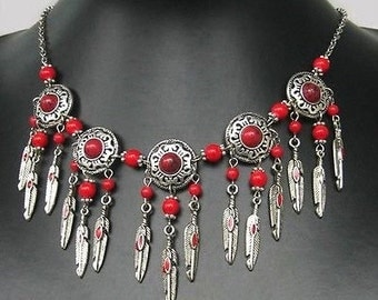 Southwestern Anasazi Indian Chaco canyon Inspired Silver and Coral Necklace, Southwestern Design, museum copy, ships fast