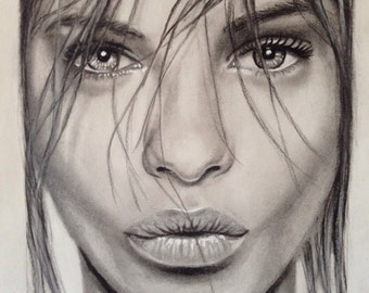 Barbara Palvin- Original charcoal drawing