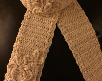 Aunties fashionable knitted headband and scarf with flowers (very chic for those cold nights)