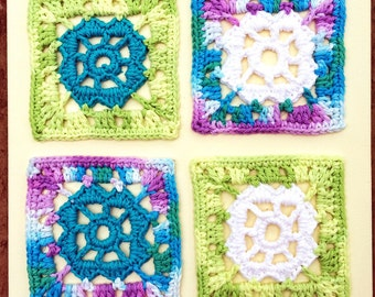 Unique Handmade Wall Art Crochet Four Granny Squares on Canvas Painting