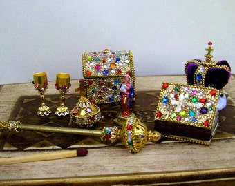 The Crown Jewels for dolls - dollhouse miniature