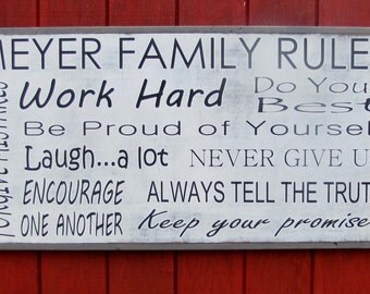 Large Customizable Family Rules Sign Wooden sign inspirational Wood Wall Art