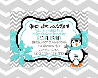 Penguin Baby Shower Invitation/Card Baby Shower Invitation/Card Waddle Penguin  Baby Shower Invitation