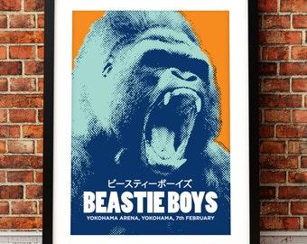 Beastie Boys concert poster, gig poster art, music inspired print, Beastie Boys poster, Yokohama, concert poster, concert art print