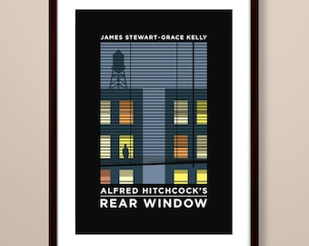 Rear Window poster, Rear Window poster print, Rear Window film poster, typographic print, Hitchcock poster, film poster, Alfred Hitchcock