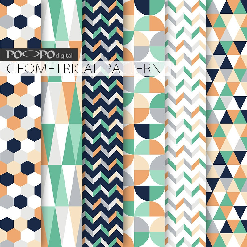 Mint And Coral Chevron Background mint and coral geometr...