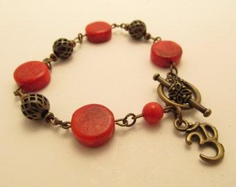 3928 - Coral, Wood Bracelet