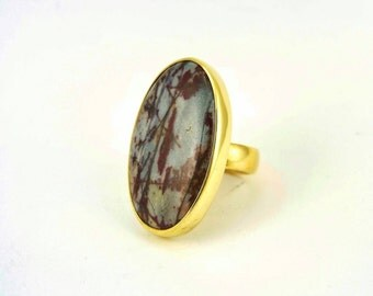Brass Ring with Jasper - Grey and Red Jasper Adjustable Statement Ring