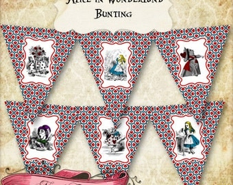 Alice in Wonderland Bunting, Printable Party Banner, Alice Digital Banner, Wonderland Digital Collage, INSTANT DOWNLOAD