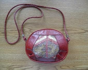Vintage Hand Woven Turkish Kilim & Genuine Leather Satchel Style Purse