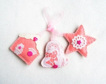 Christmas felt ornament, set of 3, pink, felt ornament with lace, house, star, bell, Christmas tree ornament, handmade, home decoration