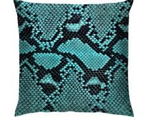 "Blue Snake Skin Texture Cushion/Pillow 18"""