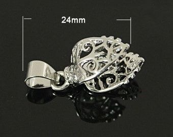 24mm Silver Pinch Bail, Bail Connector,  (1), Silver Finding, Connector for Pendant, Fancy Silver Bail, Filigree Silver Bail