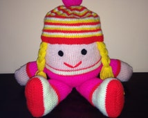 hand knit toy,  humpty dumpty doll, soft knit toy, pink knit doll, easter gift toy, childs knitted doll, knitted gifts, soft childs toy,