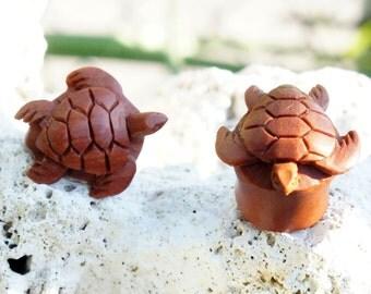 "Sawo Wood Oval Teardrop Sea Turtle Plugs Light Brown Earrings (Pair) 8mm (0G) 10mm (00G) 12mm (1/2"") 14mm (9/16"") 16mm (5/8"") 18mm (11/16"")"