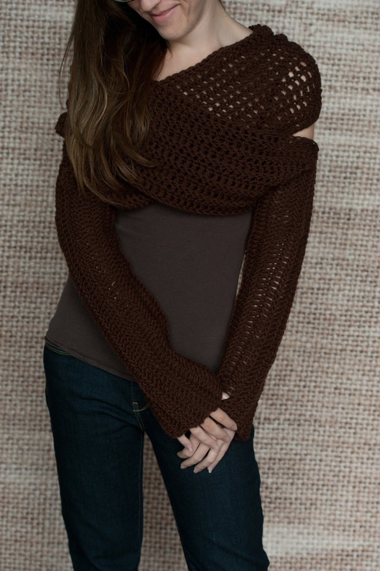 Crochet Pattern Sleeve Wrap Scarf Instand by LakeHouseKnits
